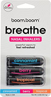 Aromatherapy Nasal Inhaler (3 Pack) by BoomBoom | Enhances Breathing + Boosts Focus | Breathe Vapor Stick Provides Fresh Cooling Sensation | Made with Essential Oils + Menthol (Variety Pack)