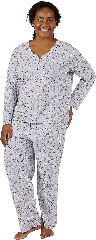 5 Genuine Free Shipping ☆ very popular LA CERA Cotton Knit Long Pajama Set Plus Sleeve Size