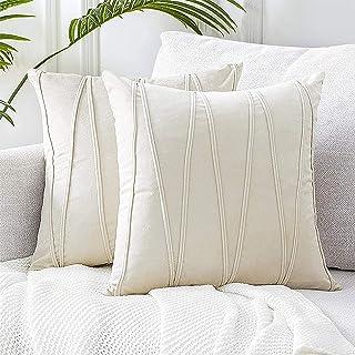 MOOING Lot de 2 Housse Coussin 45x45 en Velours Décoratif Canapé Home Decor Taie d'oreiller Super Doux Decoration Maison S...