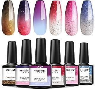 Modelones Mood Gel Nail Polish Set - 6 Colors Collection Temperature Color Changing Gel Glitter Nail Varnish Soak Off UV LED Manicure 0.33 OZ