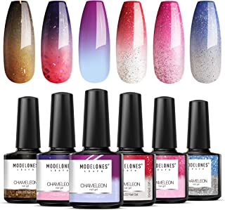 Modelones Mood Gel Nail Polish Set - 6 Colors Collection 10ml Temperature Color Changing Gel Glitter Nail Varnish Soak Off UV LED Manicure 0.33 OZ