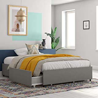 REALROOMS Alden Platform Bed with Storage Drawers, Queen Size Frame, Gray Linen
