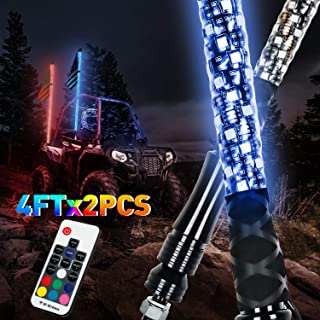 LED Whip Lights, AAIWA 2PCS 4FT Wireless Remote LED Antenna Light for UTV Polaris RZR 4 Wheeler Off Road ATV Jeep Truck Dunes