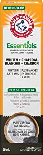 ARM & HAMMER Essentials Whiten + Charcoal Fluoride-Free Toothpaste with Natural Baking Soda, Clean Mint, 90-ml