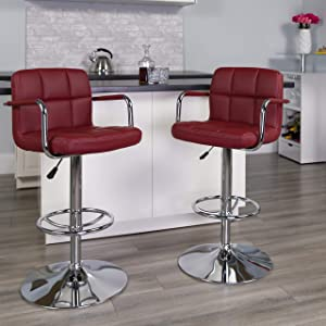 Flash Furniture 2 Pack Contemporary Burgundy Quilted Vinyl Adjustable Height Barstool with Arms and Chrome Base