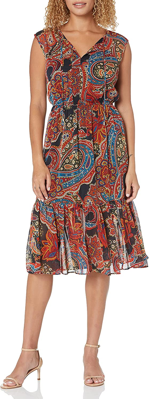 Tommy Hilfiger Women's Chiffon Flounce Hem Dress