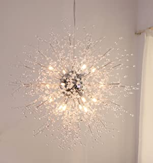 GDNS Chandeliers Firework LED Light Stainless Steel Crystal Pendant Lighting Ceiling Light Fixtures Chandeliers Lighting,Dia 27 inch