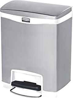 Rubbermaid Commercial Slim Jim Stainless Steel Front Step-On Wastebasket, 8-gallon, White (1901990)
