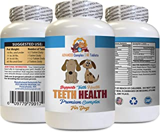 Oral Care for Dogs Bad Breath - Dog Teeth Health Care - Advanced Complex - Eliminate Bad Breath Plaque Build UP - Healthy Gums - Vitamin d for Dogs - 60 Tablets (1 Bottle)