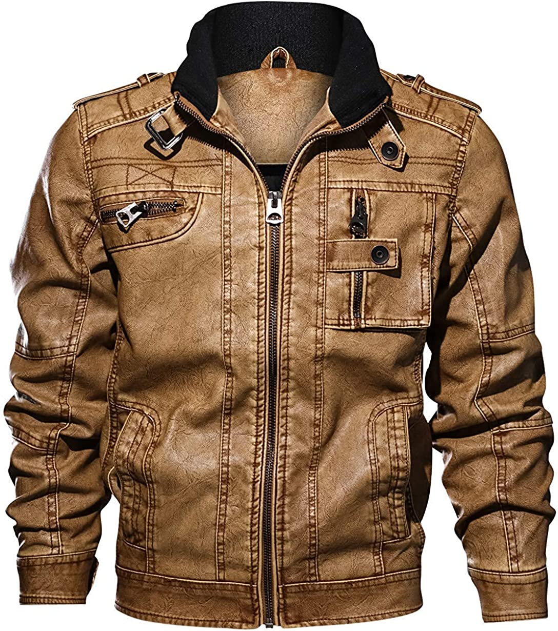 chouyatou Men's Casual Long Sleeve Zip-Up Distressed Faux Leather Moto Jacket