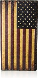 Nocona Belt Co Leather Vintage American Flag Checkbook Rodeo Wallet