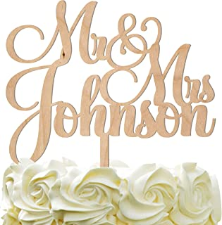 Personalized Wedding Cake Topper Wedding Cake Decoration Customized Mr Mrs Last Name To Be Bride Groom script font Wood