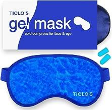 TICLO'S Gel Eye Mask - Reusable Cooling Eye Mask Cold Compress For Puffy Eyes, Migraines, Headaches, Blepharitis, Pink Eye, Dark Circles, Dry Eye, Sinus, Allergy & Pain Relief - BONUS Silk Sleep Mask