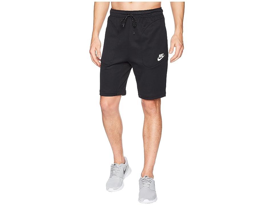 Nike NSW AV15 Shorts Fleece SU (Black/White) Men