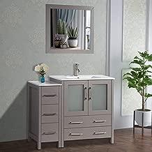 Vanity Art 42 inch Single Sink Bathroom Vanity Set Free Mirror - Compact 2 Door, 5 Drawer with White Ceramic Top | Perfect Bathroom Organizer (Gray) - VA3030-42-G
