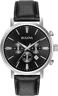 Bulova - para Hombre Reloj crongrafo con Caja de Acero Correa de Cuero Negro 41mm 96b262