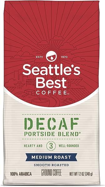 西雅图最佳咖啡无咖啡因左舷混合原味混合 3 号中号烤磨碎咖啡 12 盎司一包