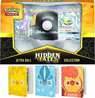 Totem World Hidden Fates Poke Ball Collection: Ultra Ball with 3 Totem Mini Binder Collectors Album Inspired Moltres Zapdos & Articuno for Pokemon Cards Tag Team GX Rare Holo Common or Uncommon TCG