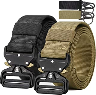 Tactical Belt,Military Style Webbing Riggers Web Gun Belt with Heavy-Duty Quick-Release Metal Buckle with 2 Keychains (Black)