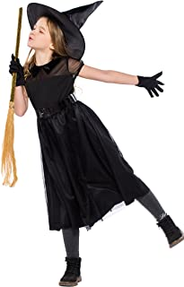 Girls Black Witch Costume Sorceress Fancy Dress Halloween Kids Childs Outfit 7-8