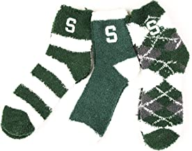 NCAA Michigan State Spartans 3 Piece Fuzzy Sock Bundle, Multicolor, One Size Fits Most