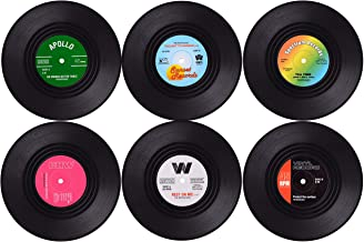 Wolfteeth Coasters for Drinks with Gift Box - Set of 6 Colorful Retro Vinyl Record Disk Coasters -Prevent from Dirty and S...