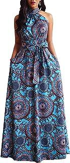 VERWIN Floor Length Lace-Up High Waist Stand Collar Sleeveless Women's Maxi Dress Print Dress Brown