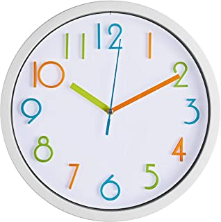 Bernhard Products Colorful Kids Wall Clock 10 Inch Silent Non Ticking Quality Quartz Battery Operated Wall Clocks, Easy to...