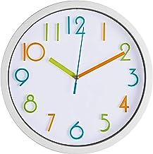 منتجات برنهارد ساعة حائط ملونة للأطفال 25.4 سم صامتة غير موقوتة جودة كوارتز تعمل بالبطارية ساعات الجدارية، سهلة القراءة 3D...