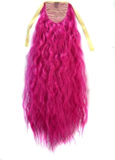 CXYP Corn Wave Curly Ponytail Extension 24 Inch Synthetic Drawstring Ponytail (pink)
