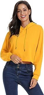 Womens Loose Fit Crop Hoodie Casual Sweatshirt with Inner Fleece