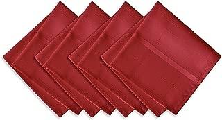 Newbridge Elegance Plaid Christmas Fabric Napkin Set, 100% Polyester, No Iron, Soil Resistant Holiday Napkins, Set of 4 Fabric Napkins, Poinsettia Red