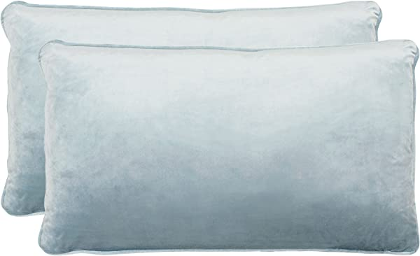 Jean Pierre New York Lucas Lumbar Velvet 2 Piece Decorative Pillow Set 14in X 24in Harbor Blue