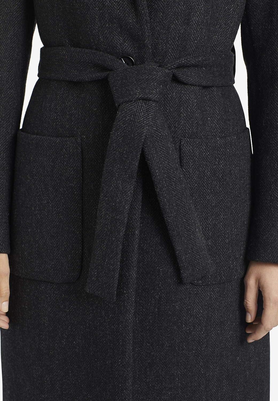 khujo Damen Mantel LUMERA gerader Wollmantel mit tiefem Reverskragen und Gürtel Schwarz-grau Fischgrat