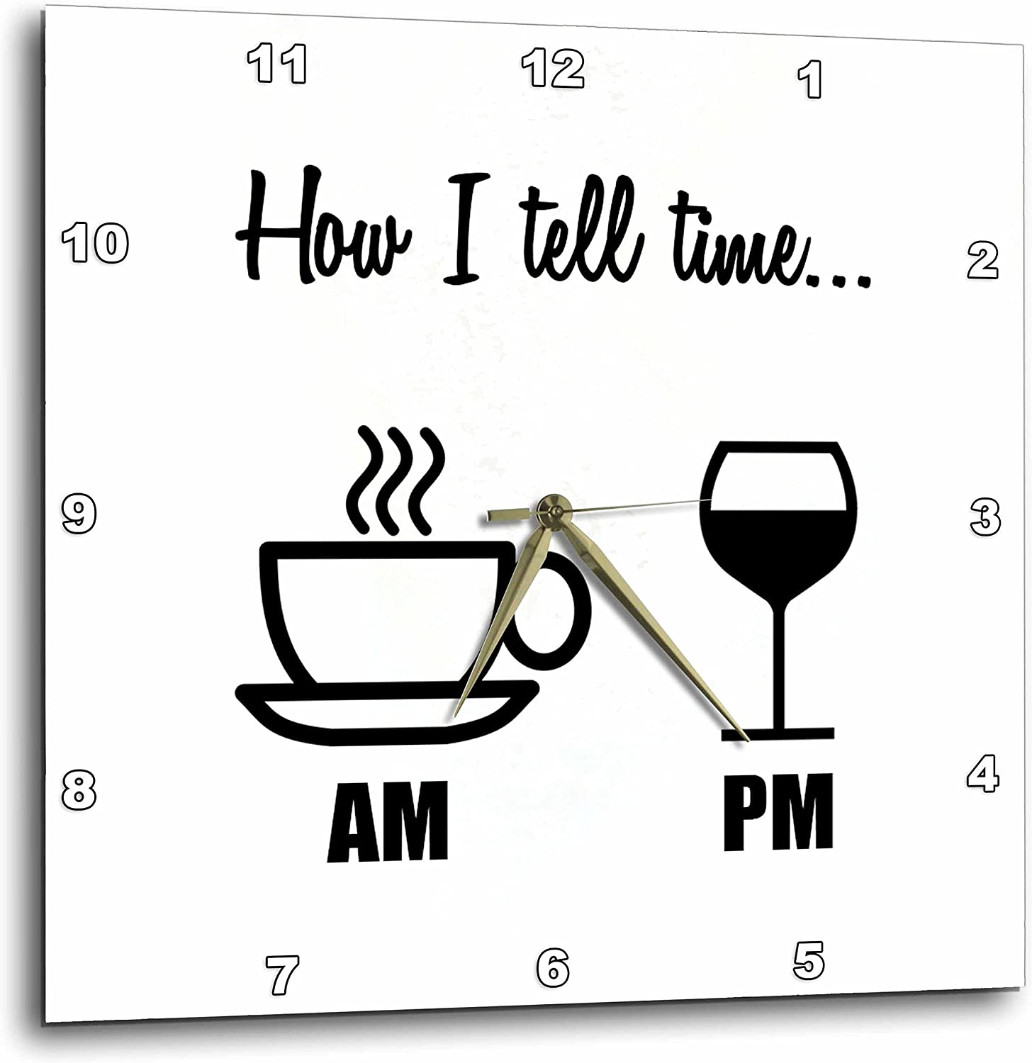 3dpink How I Tell Time. Coffee Cup Am, Wine Glass PM - Wall Clock, 10 by 10-Inch (DPP_224611_1)