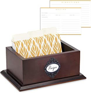 Modern 4x6 Wood Recipe Box with Cards and Dividers - Sturdy with Elegant Base and Open Top - 50 Recipe Cards and 9 Dividers Made with Thick Smear-Free Card Stock
