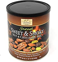 Savanna Orchards Gourmet Sweet & Smoky Nut and Chocolate Mix 30oz Almonds, Dark Chocolate mini cups, Honey rasted Pecans & Pistachios