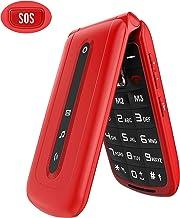 Ukuu Teléfono Movil para Personas Mayores con Teclas Grandes Pantalla de 2,4 Pulgadas Móviles con Tapa, Fácil de Usar Celular para Ancianos con Botón SOS, Cámara, Radio FM, Batería de 900 mAh,Rojo