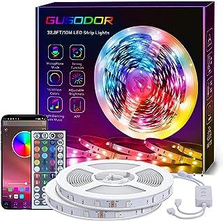 GUSODOR Ruban LED, 10M RGB Bande Led Lumineuse, Synchroniser avec Rythme de Musique, Fonction de Minuterie, Contrôlé par B...