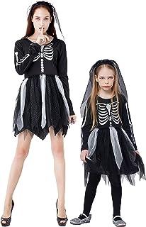 IKALI Déguisement Squelette Fille Enfant,Zombie Costume Fantaisie Robe pour De Fête Halloween Jupe