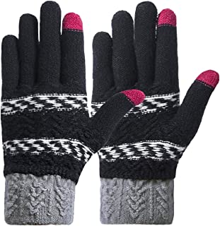 Womens Gloves Winter Warm Knit Touch Screen Gloves Texting Mittens