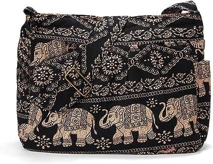 a9f1ade77 Women Large Shoulder Bag Elephant Print Cotton Bag Adjustable Crossbody  Messenger Bag