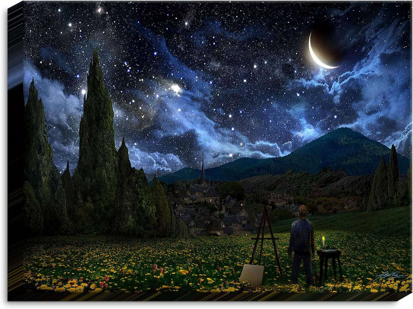 Dia Noche CAN-AlexRuizStarryNight3 Canvas overseas At the price of surprise Wall Framed Art and Un