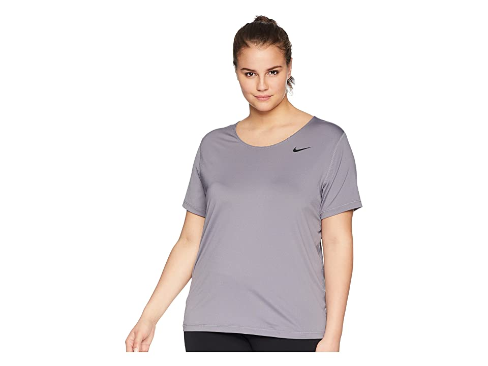 Nike Pro Mesh Short Sleeve Top (Size 1X-3X) (Gunsmoke/Black) Women