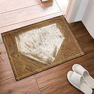 Sports Decor Home Plate Baseball Bath Rugs Non-Slip Floor Entryways Outdoor Indoor Front Door Mat 16X24 Inches Bath Mat