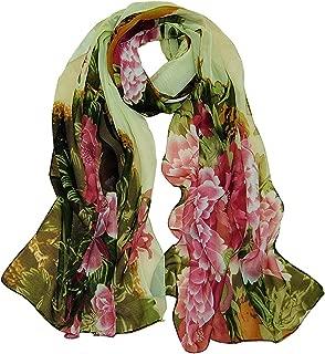 Aven Women Retro Print Floral Chiffon Long Scarf Shawl Wrap