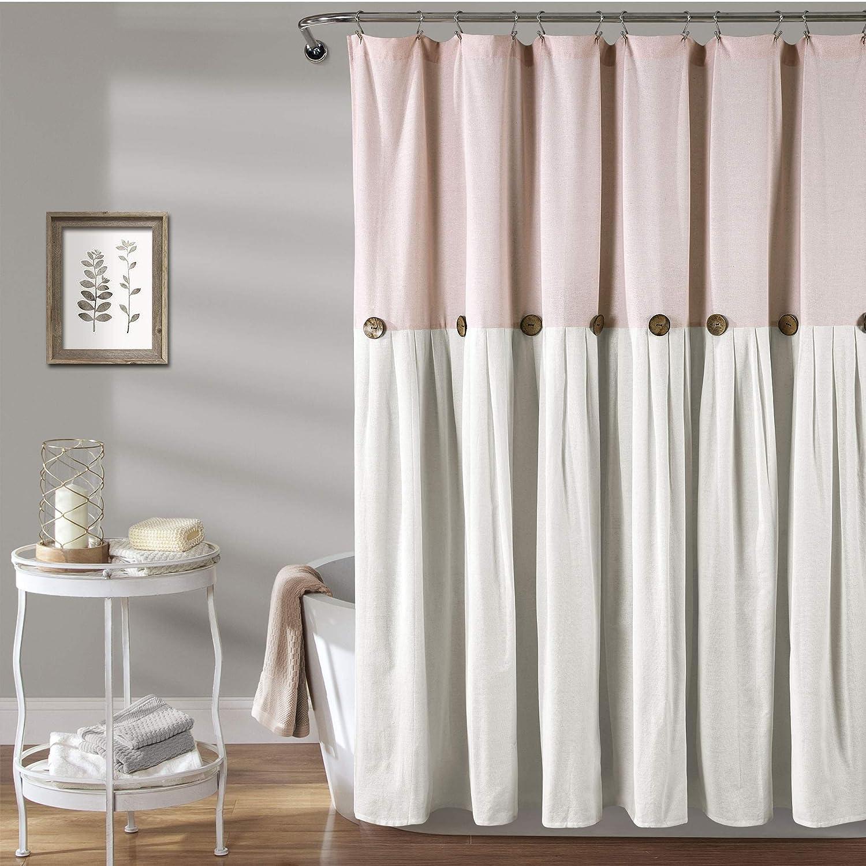 Lush Decor Linen Button Shower Curtain, 72  x 72 , bluesh & White