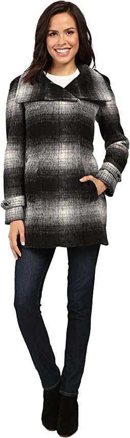 Calvin Klein Plaid Wool with Zip Closure and Sleeve Detail