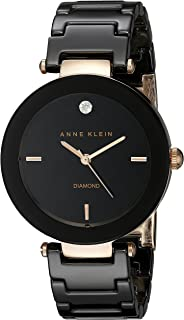 Anne Klein Women's Genuine Diamond-Accented Ceramic Bracelet Watch