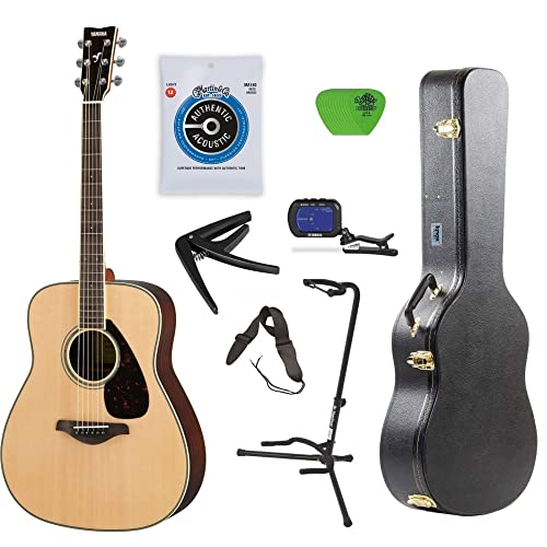 Yamaha FG800 Acoustic Guitar Solid Top with Knox Hard Shell Guitar Case,Tuner,Stand